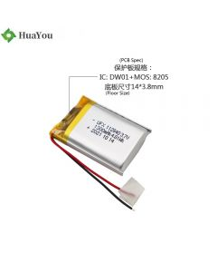 Chinese Lithium Cell Factory Supply Massager Battery HY 112840 3.7V 1300mAh Li-ion Polymer Battery